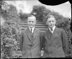 President Calvin Coolidge (left) stands with his vice president Charles Gates Dawes outside the White House on July 2, 1924. Dawes maintained a residence in Evanston, Illinois, from 1909 to 1951, and the house is now home to the Evanston History...