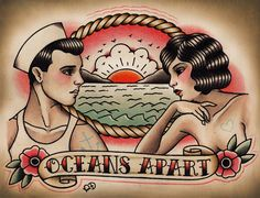 flash-art-by-quyen-dinh:    Oceans Apart - Quyen Dinh  Print at Parlor Tattoo Prints on Etsy!