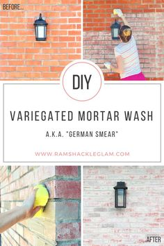 DIY Variegated Mortar Wash (German Smear) -- AWESOME way to transform your ugly brick wall or fireplace