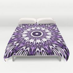 Purple White Black Explosion Duvet Cover by 2sweet4words Designs