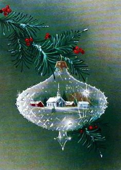 Vintage Christmas Card Crystal ornament. → For more, please visit me at: www.facebook.com/...