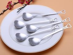 5 Pcs Heart Shaped Coffee Tea Spoon Stainless Steel Cutlery Kitchen Set Home P91