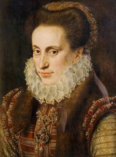 1573 Woman - said to be Lady Elizabeth Fitzgerald, 1528?–1589, 'Fair Geraldine', wife of Edward Clinton - attributed to Lucas de Heere (Herbert Art Gallery & Museum - Jordan Well, Coventry, West Midlands UK)