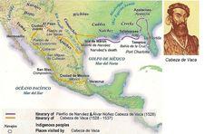 itinerario de descubrimiento de Coahuila y Nuevo Leon por Alvar Nuñez Cabeza de Vaca en 1528