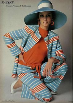 1960s  fashion Love the Hat. Not sure about the stripes.