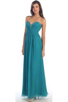 A-line Empire Strapless Chiffon Long Dress