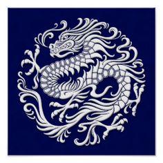Traditioneller weißer und blauer chinesischer Drac Poster