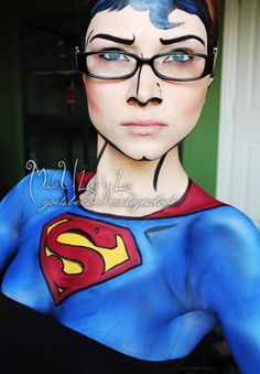 Awesome Superman/Clark Kent comic makeup , idk if i would have the patience for this!!!