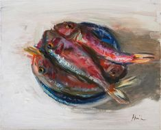 """Daily Paintworks - """"Red Mullet on a Plate"""" - Original Fine Art for Sale - © Anna Mikhaylova Red Mullet, Original Paintings, Canvas Paintings, Fish Art, Fine Art Gallery, Impressionist, Art For Sale, Anna, Plate"""