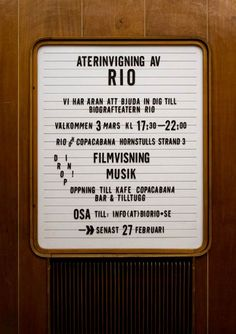 Interior signage as part of the interior redesign of the Rio cinema in Stockholm, Sweden - by studio 1:2:3 and student Kristoffer Sundin | www.1-2-3-info.se