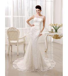 Bateau Neck Buttons Lace Court Train Ivory Bridal Wedding Dress $254.90
