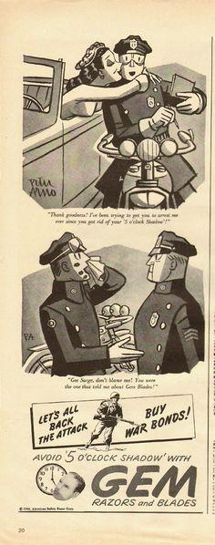 1944 Vintage magazine advertisement for GEM Razors and Blades