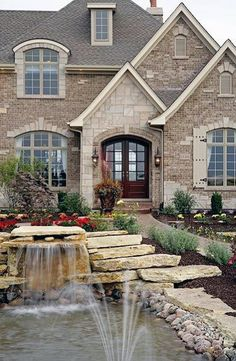 Brick and Stone Color: Silvestri Custom Homes - versailles Model Home Exterior Colors, Exterior Design, Cafe Exterior, French Exterior, Restaurant Exterior, Modern Exterior, Cladding Design, Villa, Brick And Stone