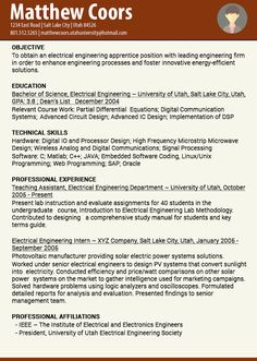 resume examples resume and engineers on pinterest