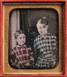 American School, 19th Century   Hand-tinted Sixth-plate Daguerreotype of Two Girls, in a leather push-button case.