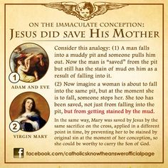 8 is the feast day of the Immaculate Conception of Our Lady. She was born without original sin but was saved prior to being conceived. Catholic Theology, Catholic Religious Education, Catholic Answers, Catholic Religion, Catholic Quotes, Catholic Prayers, Catholic Saints, Roman Catholic, Catholic Traditions