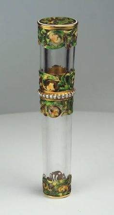 Rock Crystal  Etui With Pearl Gold And Enamel