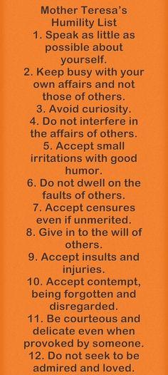 Mother Teresa's Humility List