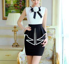 Juxtaposition of black and white flowers sleeveless dress OL temperament Slim
