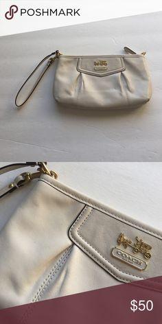 Cream Coach wristlet Gold embellishments Coach Bags Clutches & Wristlets