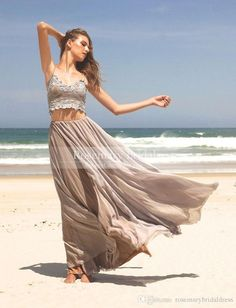 Sexy Lady 2016 Lace Appliques Pleats A Line Two Pieces Spaghetti Sleeveless Ankle Length Chiffon Prom Dresses Party Evening Custom Made Online with $113.09/Piece on Rosemarybridaldress's Store | DHgate.com