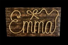 "EMMA: 27"" Western Rope Name Sign Cowboy Theme Room Nursery- Brown Wood Grain Finish- (001)"
