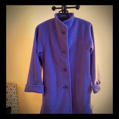 MARALYCE FERREE stunning periwinkle fleece coat! MARALYCE FERREE, made in U.S.A. (Scarborough Maine), unlined, knee-length fleece coat/jacket.  Listed as XS but is roomy, could fit SM or even Medium size.  The periwinkle color is stunning.  Beautiful matching periwinkle and black buttons - all intact.  Deep slit pockets, rolled sleeves.  Machine washable in cold water.  Do NOT dry clean!   This is in wonderful condition.  Fabulous for a crisp fall day!  Please ask if any questions.  Thank…