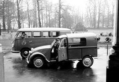 Citroen 2CV and Volkswagen Van together • two classic iconic cars