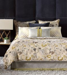 Tradition meets fashion in Caldwell. Summery leafage graces the duvet in an eclectic mix of textures, patterns, and colors. This dazzling collection makes the perfect conversation piece with dashes of chic citrus and cool silver. Artistically pleated and lazer-cut pillows add a personalized touch.