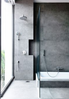 41 Concrete Bathroom Design Ideas To Inspire You Grey Bathroom Tiles, Concrete Bathroom, Bathroom Renos, Grey Bathrooms, Modern Bathroom, Small Bathroom, Master Bathroom, Bathroom Mirrors, Grey Tiles
