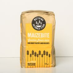 Cotswold Maizebite Flour.  A blend of plain flour and maize flour to give a crisp golden coloured pastry, particularly suitable for sweet products  Available in 16 kg sacks and 5 x 1.5 kg bags.