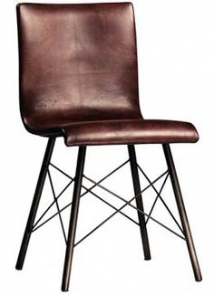 Modern Gibbings Leather Side Chair Steel Tube Frame with Powder Coated Finish Full Grain Leather with Hand Rubbed Finish