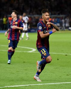 Neymar of Barcelona celebrates scoring his team's third goal during the UEFA Champions League Final between Juventus and FC Barcelona at Olympiastadion on June 6, 2015 in Berlin, Germany.
