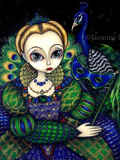 Items similar to Peacock Queen bird princess fairy art print by Jasmine BIG on Etsy Peacock Bird, Peacock Colors, Peacock Design, Illustrations, Illustration Art, Ballet Painting, Painting Art, Paintings, Pierrot