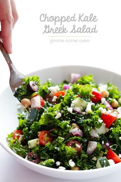 Gimme Some Oven | Chopped Kale Greek Salad | http://www.gimmesomeoven.com