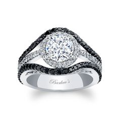 Black Diamond Engagement Ring - 7941LBKW - This unique, black and white diamond halo engagement ring features a prong set round diamond center encircled with diamonds.  The white gold split shank features shared prong set black diamonds framing the halo for a stunning contemporary flair.     Also available in yellow, rose gold, 18k and Platinum.