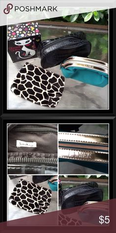 Cosmetic bags Animal print Lancôme bag; black faux crocodile Neiman Marcus bag with 2 inside pockets; green LAMER bag; gift with purchase of $25 or more; just tell me which one; all 3 for $10 or 1 for $5; all new and never used Neiman Marcus Bags Cosmetic Bags & Cases
