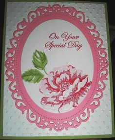 SU Stippled Blossoms, any sentiment, Spellbinders Floral Oval (largest) and Large Ovals (largest)
