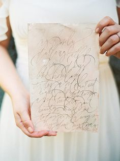 "For the calligraphy, I'd love for one set of ""Vows"" to be written like this, along with the annoucement suite"