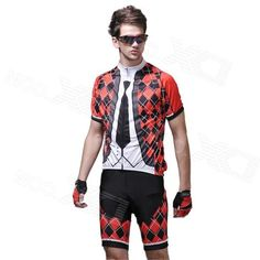 Grille Tie Mens Short-Sleeve Cycling Jersey & Shorts Set - Black + Red + White (Size-XL)