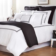 Wildon Home ® Baratto Duvet Collection with Triple Embroidered Stripes. Available in chocolate!, good with furniture Duvet Sets, Home, Bedroom Makeover, Home Bedroom, White Duvet, White Duvet Covers, Bedroom Design, Bed, White Bedding