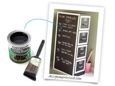 Turn the surface of your cabinet into an oversize memo board. Prime first, then apply white paint around the edges of the cabinet and drawers. When dry, mask off the border with painter's tape. Brush or roll on several coats of chalk-board paint. Remove the tape and reinstall the hardware.Shown: Rust-Oleum Chalkboard Paint, about  $10; homedepot.com