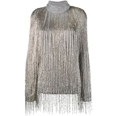 Valentino Valentino Beaded Fringe Oversized Jumper (10 800 AUD) ❤ liked on Polyvore featuring tops, sweaters, roll neck sweater, oversized grey sweater, long sleeve jumper, long sleeve tops and rollneck sweaters