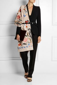 Temperley London | Toledo floral-embroidered wool shawl