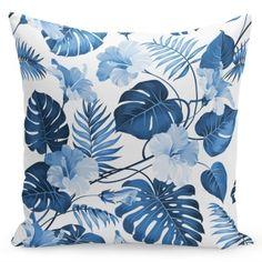 Biela jednoduchá obliečka na vankúš s modrými kvetmi Modern Pillow Covers, Modern Pillows, Throw Pillow Covers, Throw Pillows, Pillowcase Pattern, Printed Cushions, Decorative Pillow Cases, Outdoor Cushions, Cotton Pillow