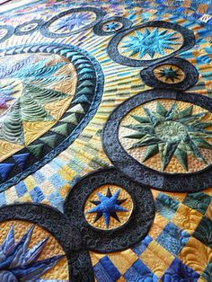 Mariner's Compass - Matgaret's quilting (Quilts of Love) Machine Quilting Designs, Quilting Projects, Quilting Ideas, Longarm Quilting, Free Motion Quilting, Colorful Quilts, Star Quilts, Fabric Art, Quilt Patterns