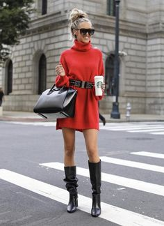 Winter Outfits To Copy ASAP: red sweater dress with black knee high boots. These casual winter outfits will keep you warm when other cold weather outfits may fail you. Check out these over the knee boot outfit looks, sweater outfits and other winter f Casual Winter Outfits, Cold Outfits, Winter Dress Outfits, Winter Fashion Casual, Cold Weather Outfits, Dress Winter, Red Dress Outfit Casual, Ootd Winter, Winter Boots