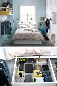 Ideas for Marky's College Bedroom MALM storage bed - In a small bedroom, sometimes you have to think outside of the closet. If a wardrobe simply won't fit, you can get around the problem with a bed that can store a wardrobe's worth of clothes. Ikea Bedroom, Bedroom Storage, Home Bedroom, Bedroom Decor, Bedroom Ideas, Bed Ikea, Ikea Malm, Ikea Storage, Storage Ideas