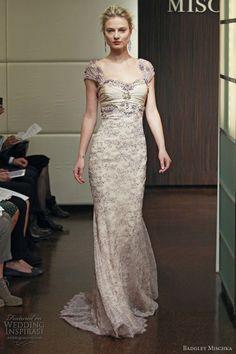 badgley mischka - blush lace cap sleeve gown cressida