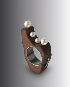 wood ring. material jewelry. pearl